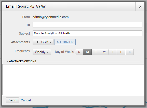 analytics email report settings