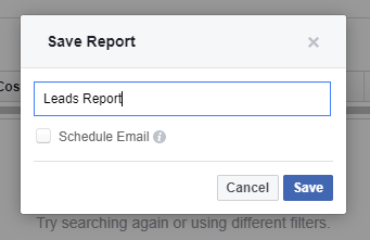 facebook ads report save