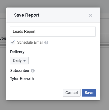save facebook ads report