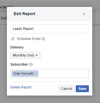 save report subscriber facebook