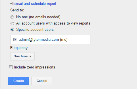 email and schedule adwords report