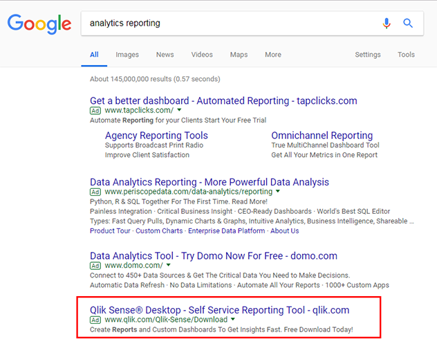 analytics reporting search