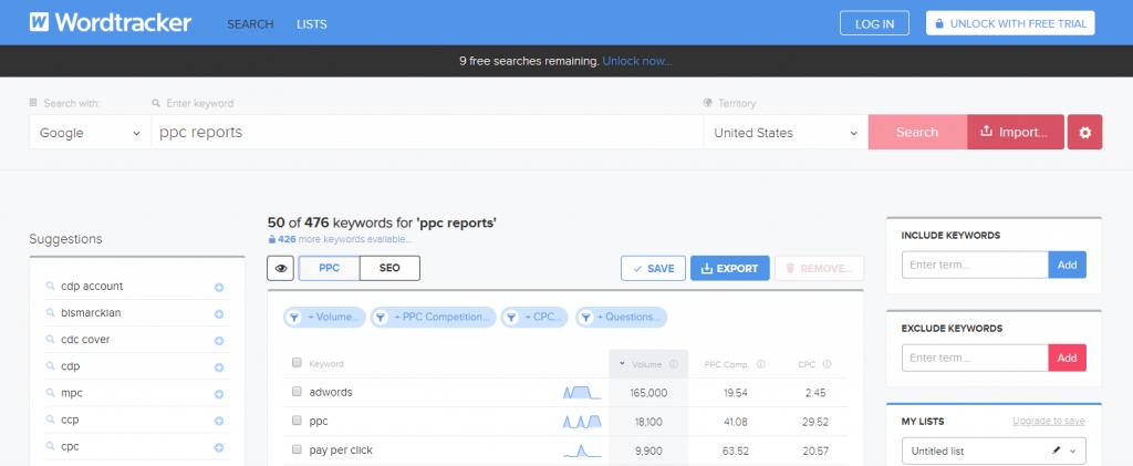 worddtracker keyword tool