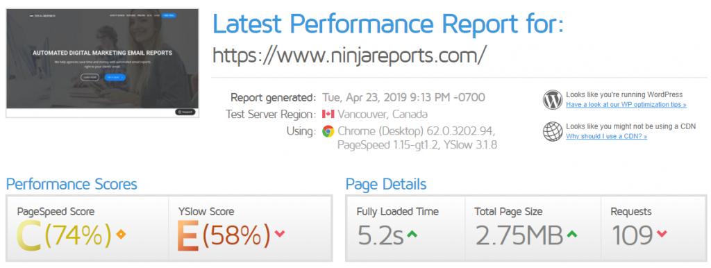 gtmetrix ninjareports speed test tool