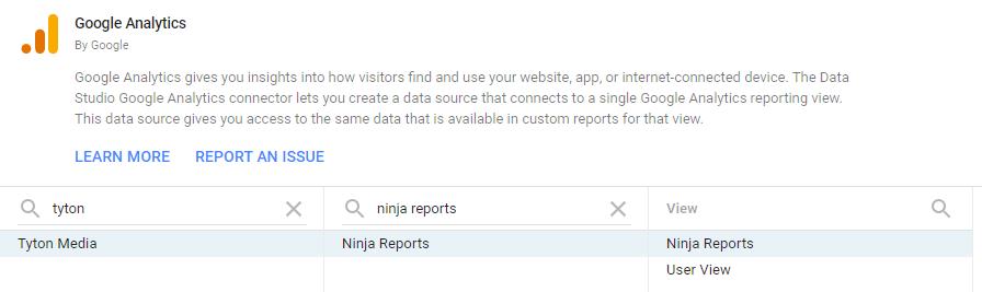 choose integrations google data studio