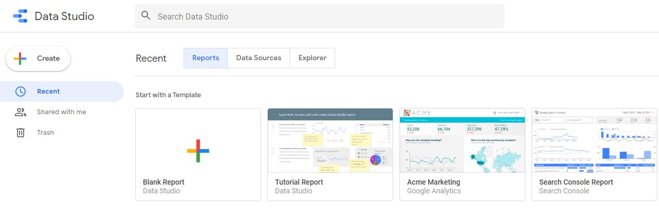 data studio create report