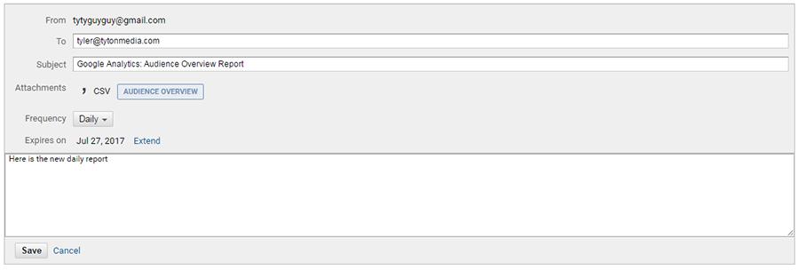 edit analytics email report