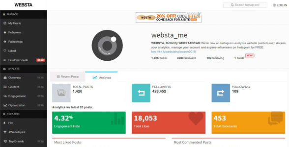 websta social media analytics