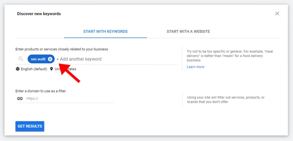 google keyword planner tool new keywords