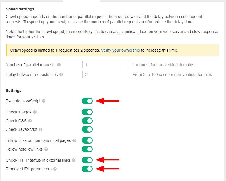 crawl settings ahrefs seo audit tool