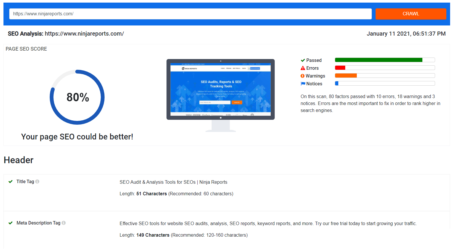 ninja reports seo checker tool